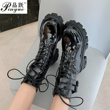 New Combat Patent Leather Boots Women Lace Up Gothic Black Platform Leather Martin Ankle