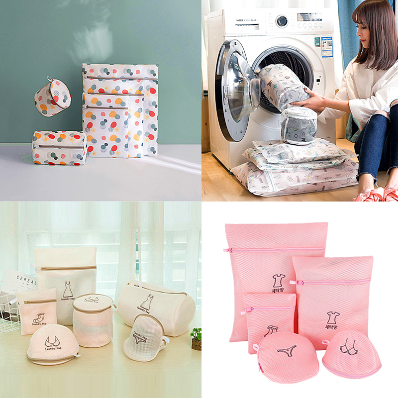 1 Set Mesh Washing Machine Laundry Bag With Multiple Style For Wahing Clothes Foldable Underwear Bra Socks Laundry Wash Bags Kit