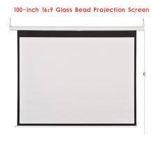 100 Inch 16:9 Glass Bead Hd Elektrisch Projectiescherm Canvas Thuisbioscoop Beamer Projectiescherm Film Projector Screen
