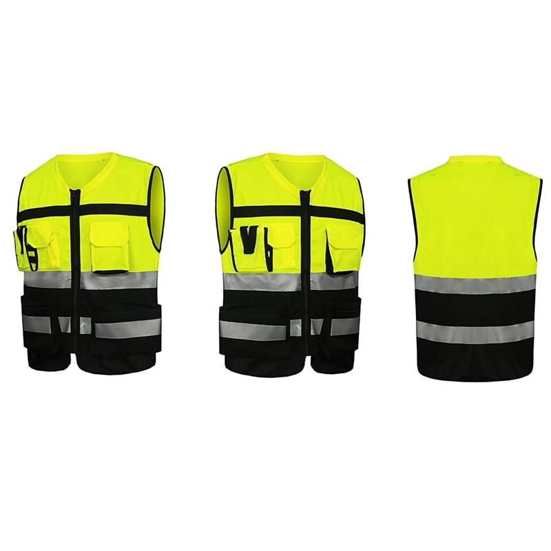 7 карманов класса 2 высокая видимость молния спереди Safet жилетка желтая со светоотражающими полосками. Ansi/Isea стандарты(большой