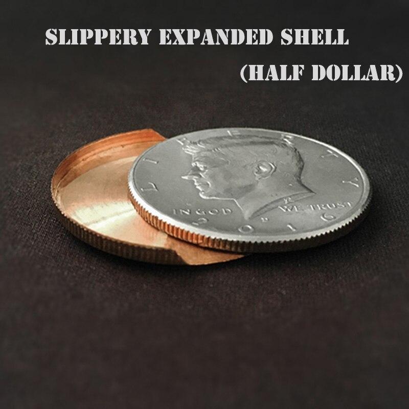 1pc Escorregadio Expandido Shell (Meio Dólar) truques de mágica Moeda Aparecer/Desaparecer Magia Acessório Mágico Close Up Illusion Truque Prop