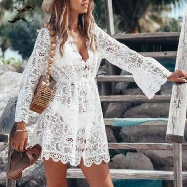 Женский раздельный сексуальный белый купальник 2019, женская Пляжная накидка, кружевная прозрачная пляжная одежда, элегантный купальник с длинным рукавом