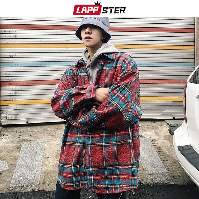 لابستر الرجال الشارع الشهير منقوشة معطف صوف 2020 رجل Harajuku Jackets الكورية نمط جاكيتات معاطف الذكور الهيب هوب جاكيتات سترة واقية