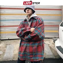 LAPPSTER גברים Streetwear משובץ צמר מעילי 2020 Mens Harajuku בציר קוריאני סגנון מעילי מעילי זכר היפ הופ מעילי מעיל רוח