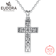 EUDORA 100% 925 Sterling Silver Celtics Cross Knot Necklace Simple Pendant Chain Woman & Mens Jewelry gift D442