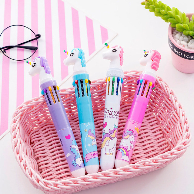1PC Cute Unicorn Ballpoint Pens 10 Colors In 1 Pens Kawaii Multicolor Ball Pens For Kids Gift School Office Supplies Stationery
