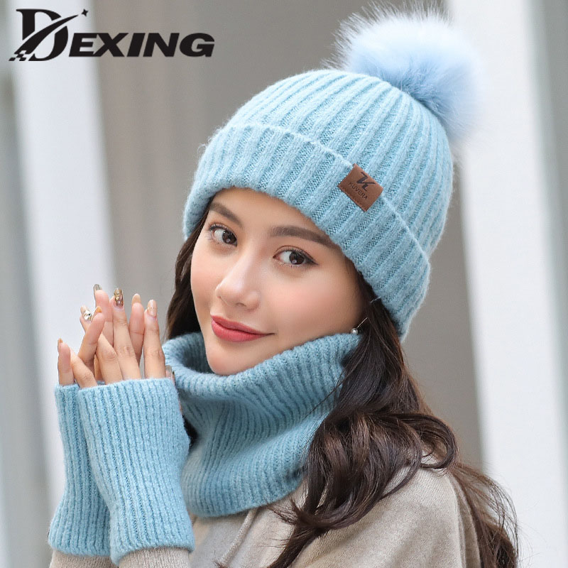 Winter Hat And Scarf Set For Women Solid Thick Warm Female Girls Fashion Hat Scarf Glove Set  Outdoor Ski Cap Beanie Bonnet
