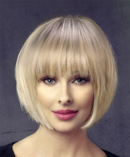 AISIBEAUTY Short Bob Wigs for Women Omber Blonde Straight Wig Middle Side Wigs for Black Women Heat Fiber Hair Realistic Daily(China)