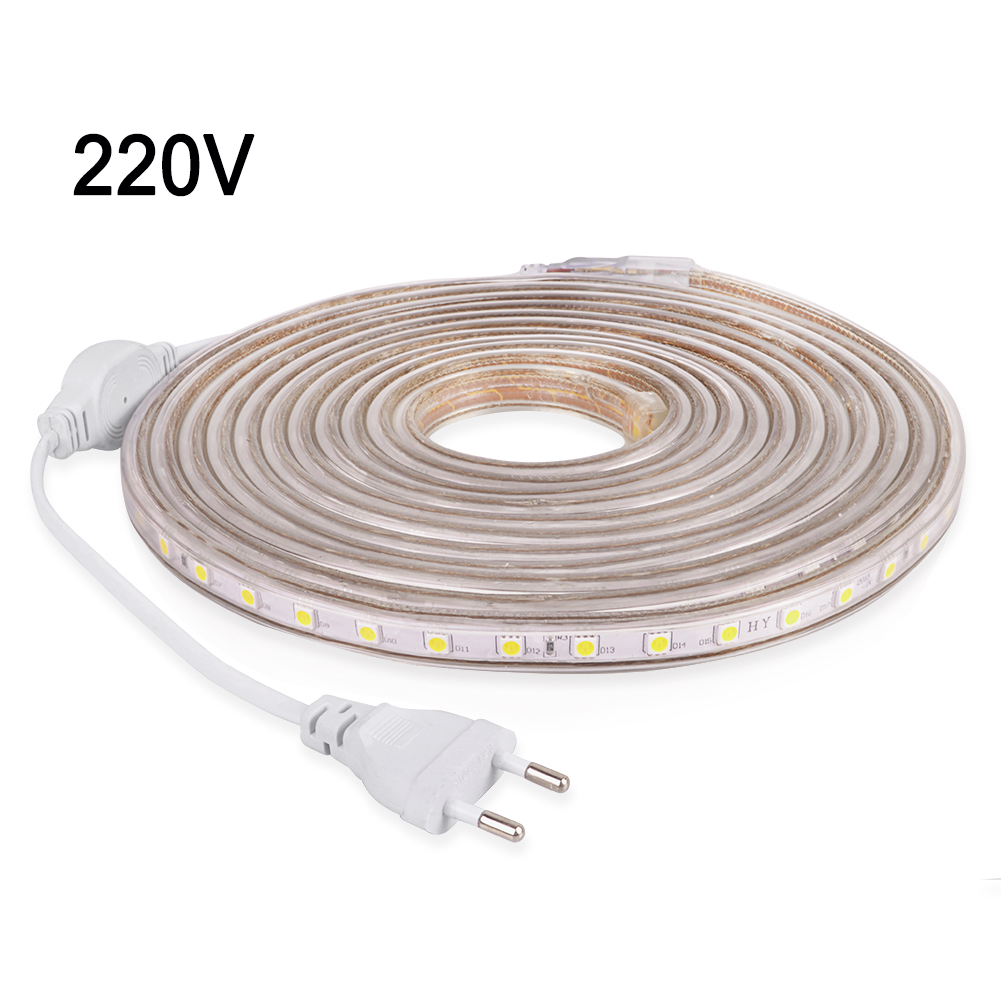 LED Strip Light Flexible Neon Strip Waterproof Diode Tape 220V SMD5050 60LEDs/m LEDstrip Decorative LED Ribbon With EU Plug