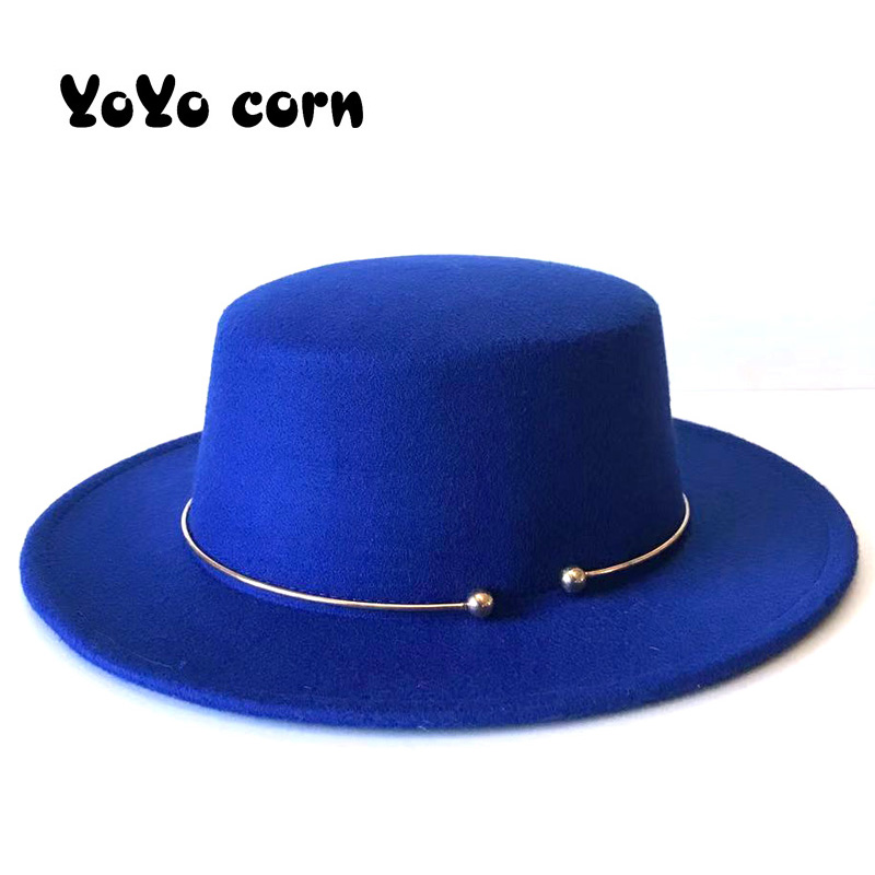 New Men Sombrero Bowler Church Trilby Hats For Women Golden Circle Cap Lady Femme Vintage Fashionable Black Top Felt Fedora Hat