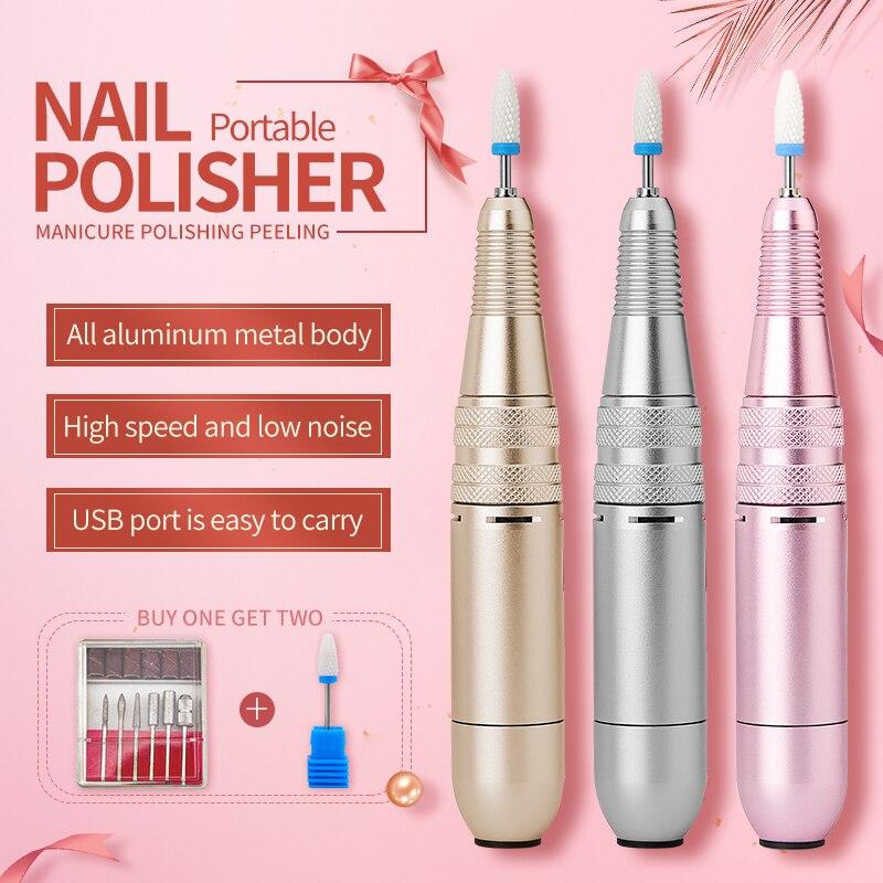 Portable Electric Nail Drill Machine Kit Manicure Machine Set Efile Pen Nail File Machine Nail Art Equipment Tool Ceramic Bit