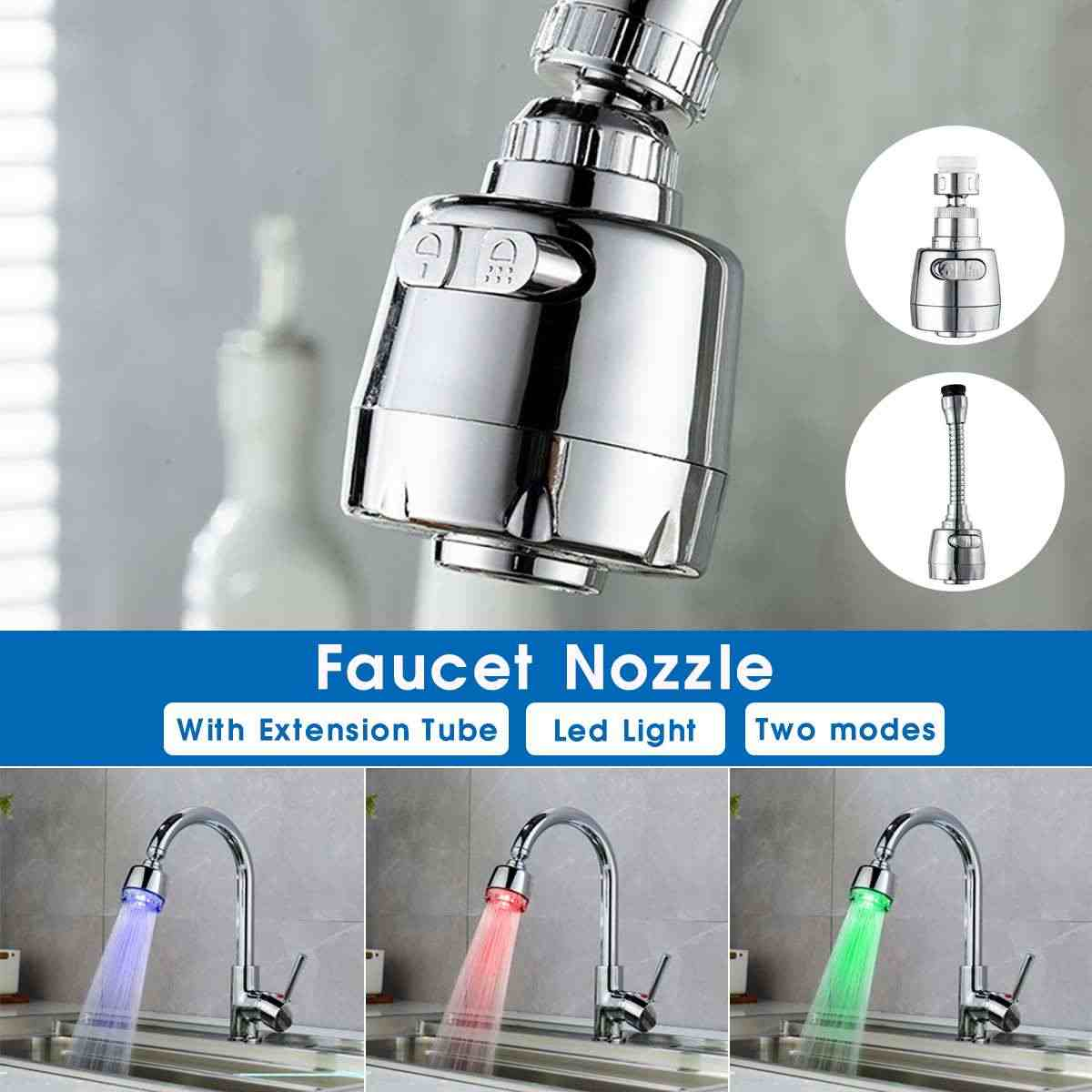LED Light 7 colors Water Saving ABS Faucet Aerators Water Tap Nozzle Filter splash-proof Faucets bubbler for Kitchen Bathroom