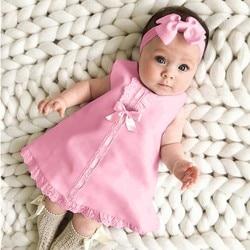 Повседневное платье макси без рукавов и с бантом для новорожденных девочек + комплект с повязкой на голову, одежда с бантом и оборками, красн...