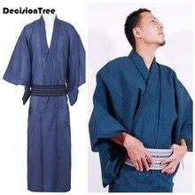 2019 traditional men japanese pajamas robe simple kimono robes yukata suits nightgown cotton sleepwear bathrobe leisure