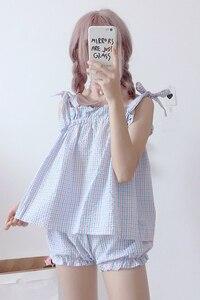Image 5 - 2019 קיץ חדש kawaii נשים שני חלקים חליפת Harajuku מתוק חגורת רצועת למעלה + מכנסיים קצרים בית נקבה פיג מה סט