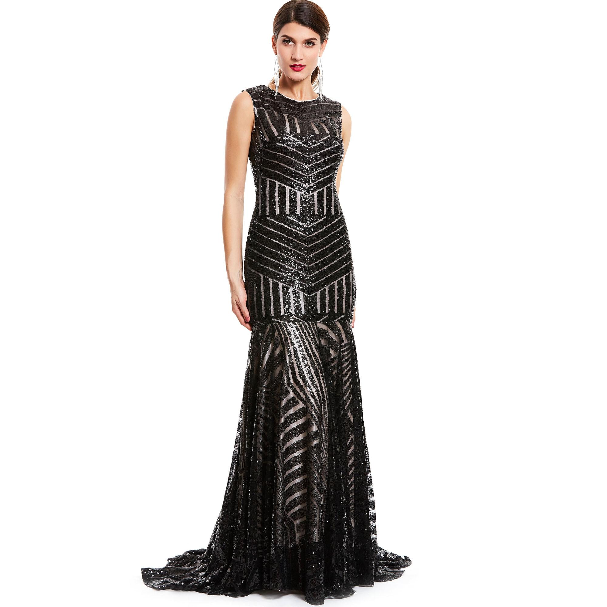 Dressv sequins long   evening     dress   black scoop sleeveless floor length   dresses   cheap mermaid zipper up formal party   evening   gown