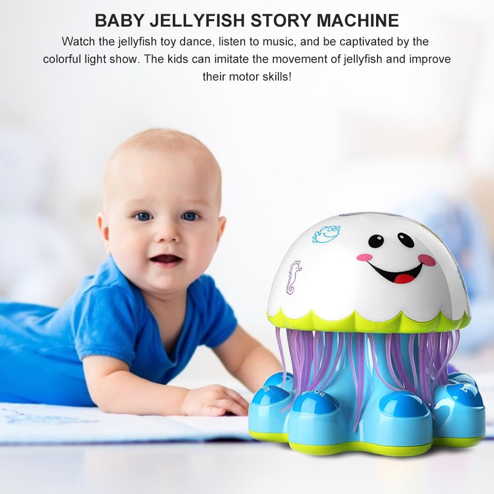 Electric Jellyfish Dancing Robot Colorful Lights Music Toy Rotating Projector Baby Story Machine Children Early Education Toys