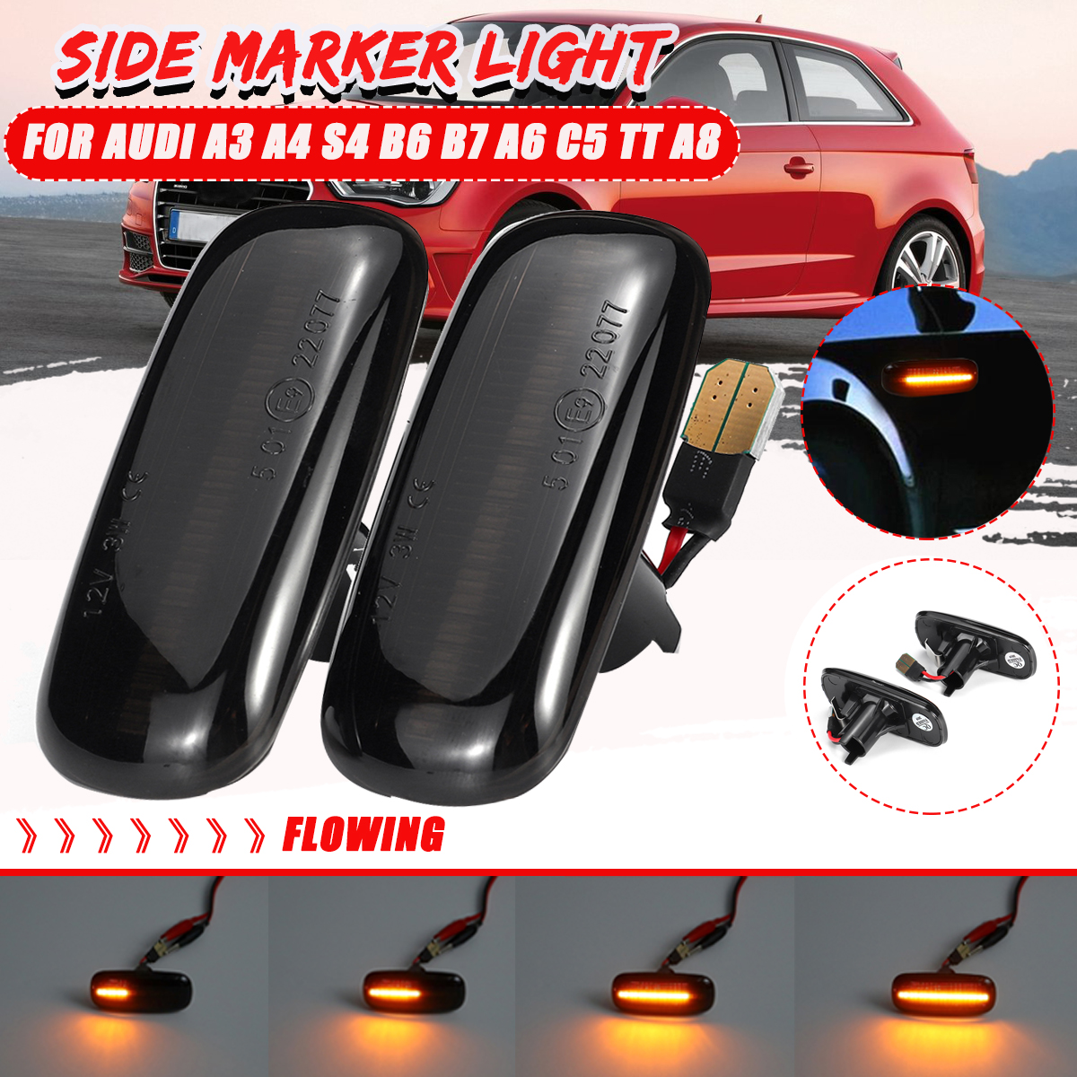 Dynamic Flowing SMD Smoke Amber Led Side Marker Turn Signal Light for Audi A3 S3 8P A4 S4 RS4 B6 B7 B8 A6 S6 RS6 C5 C7 White Indicator Lamp Replacement