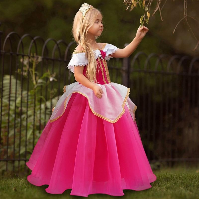 Hfc2ed6f3542a4f28a1bc8aa956f72d81M Fancy Girl Princess Dresses Sleeping Beauty Jasmine Rapunzel Belle Ariel Cosplay Costume Elsa Anna Sofia Children Party Clothes