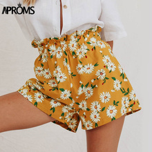 Aproms Sweet White Flower Print Shorts Women Summer Casual Elastic High Waist Shorts Vintage Beach Streetwear Yellow Bottom 2021
