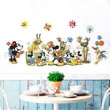 B021 милый Микки мультфильм аниме наклейки на стену спальня дети комнатные обои декоративные самоклеющиеся детские настенные