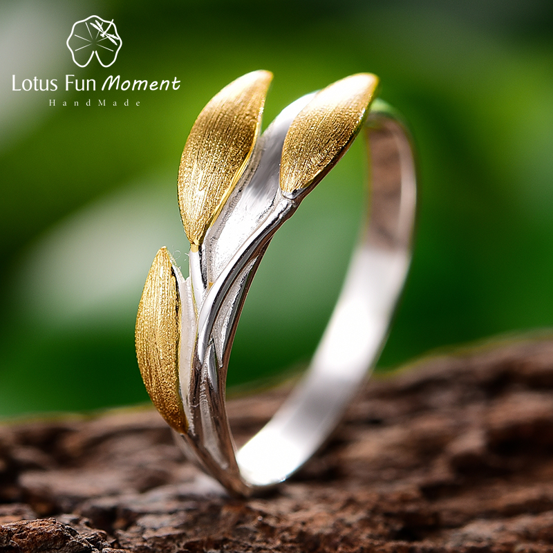 Lotus Fun Moment Real 925 Sterling Silver Rings Creative Fine Jewelry Creative Minimalist Design Leaves Rings for Women Bijoux