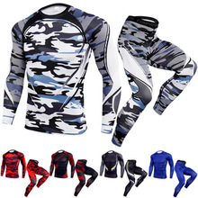 2018 men s t shirt for fitness quick dry running shirt men gym clothing sweat sport shirt men soccer jersey gym demix sportswear Compression T-shirt Leggings Set Men Running Sport Quick dry Sportswear Pants Male Gym Fitness Training MMA Tees Tops Clothing