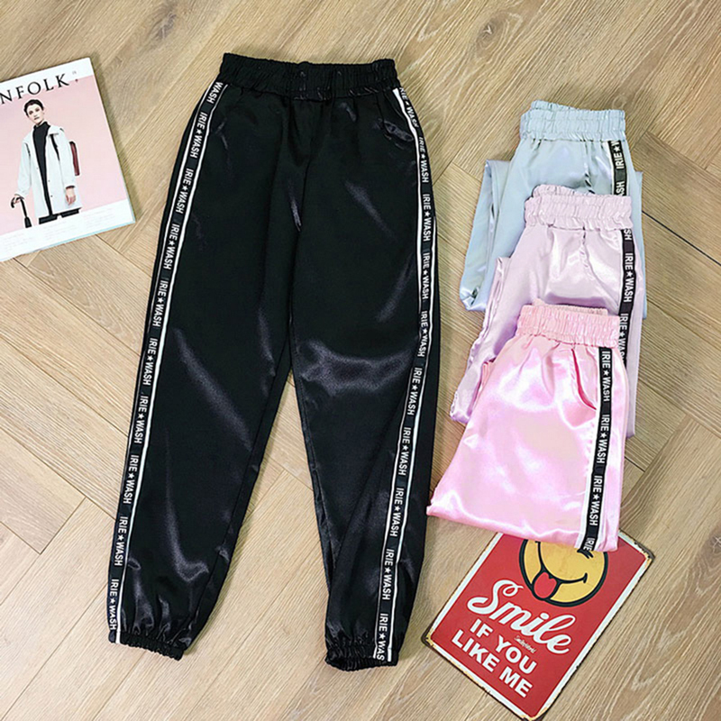 Summer Big Pocket Satin Highlight  Pants Women Glossy Sport Ribbon Trousers BF Harajuku Joggers Women's Sports Pants