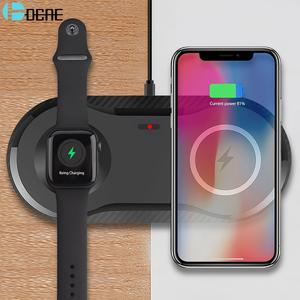 DCAE 2 in 1 Wireless Charger for Apple Watch 5 4 3 2 1 Airpods Pro 10W Qi Fast Charging Pad For iPhone 11 XS XR X 8 Samsung S10