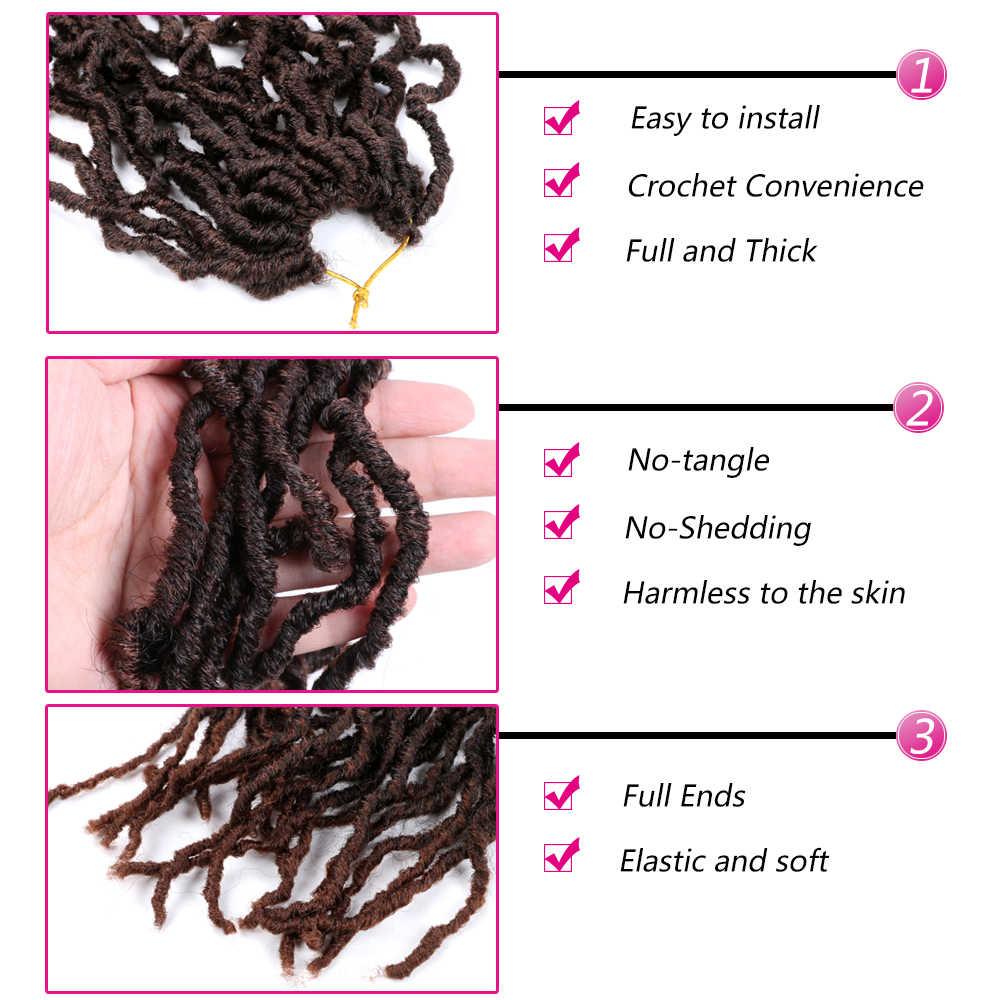 """Trenzas de ganchillo de pelo Nu Locs de Mtmei, trenzas de pelo rizado Natural en negro y marrón oscuro, trenzas de ganchillo de 18 """"21 hebras por paquete"""