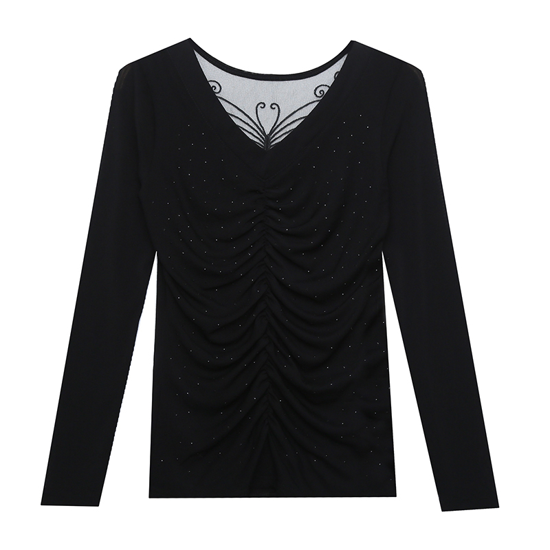 Fall Winter Korean Style T-shirt Chic V-Neck Drape Shiny Diamonds Women Tops Ropa Mujer Patchwork Sexy Back Cotton Tees T09208L