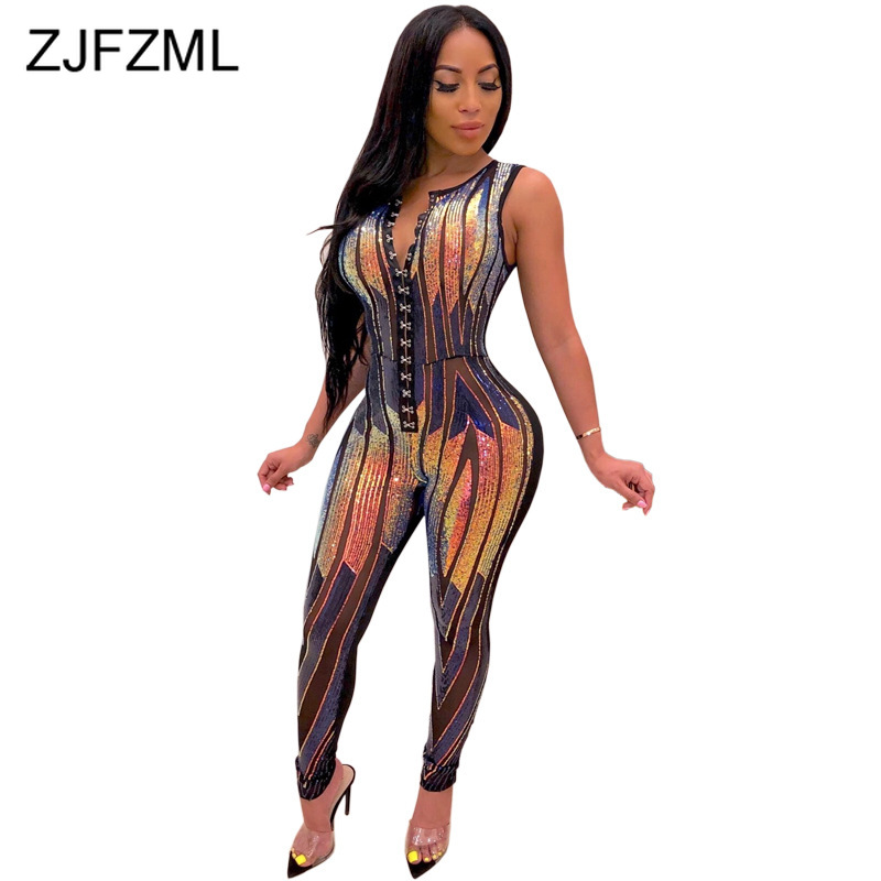 Rainbow Sequins Sexy Bandage Jumpsuit Women Sleeveless Single-Breasted Bodycon Romper Autumn Party Clubwear Glitter Playsuits
