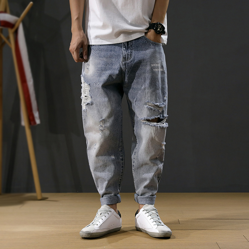 Korean Fashion Men Jeans Loose Fit Retro Blue Destroyed Ripped Jeans Men Baggy Harem Pants Embroidery Designer Hip Hop Jeans