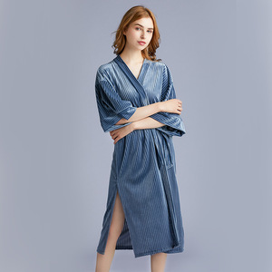 Image 3 - 2020 New Arrival Autumn Golden Velvet Womens Pajamas New  Spring Medium Length Sleepwear Bathrobes Sexy Robe Nightdress