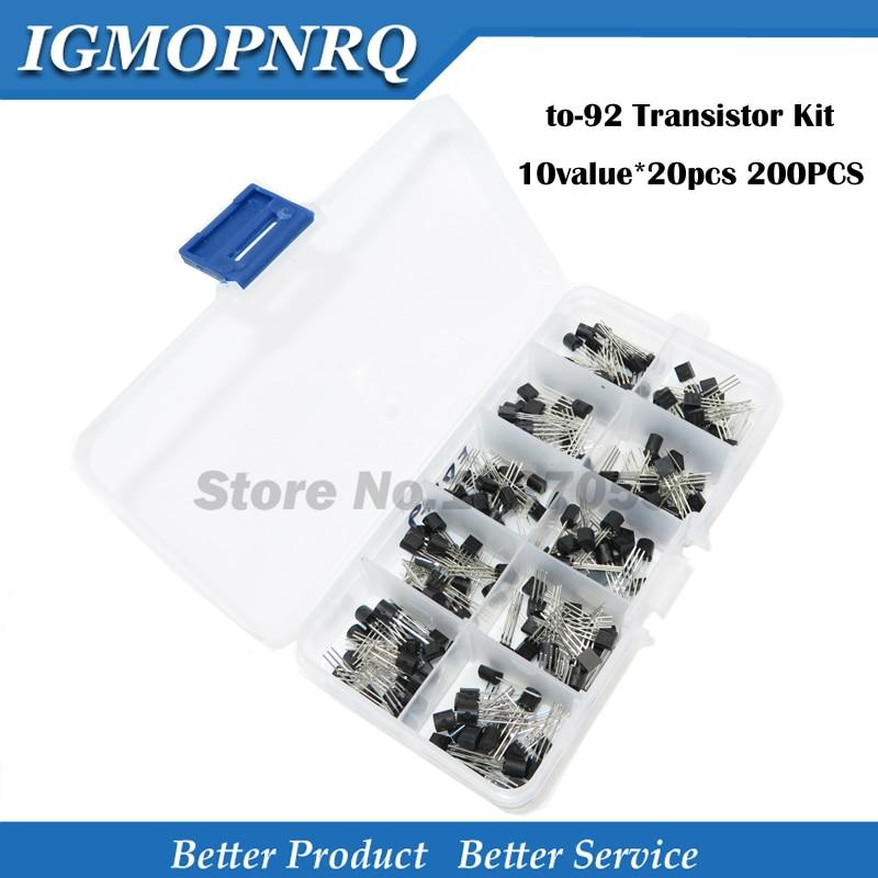 10value * 20 pièces 200 pièces BC337-25 BC327-25 2N2222 2N2907 2N3904 2N3906 S8050 S8550 A1015 C1815 Transistor boîte Assortiment Kit avec