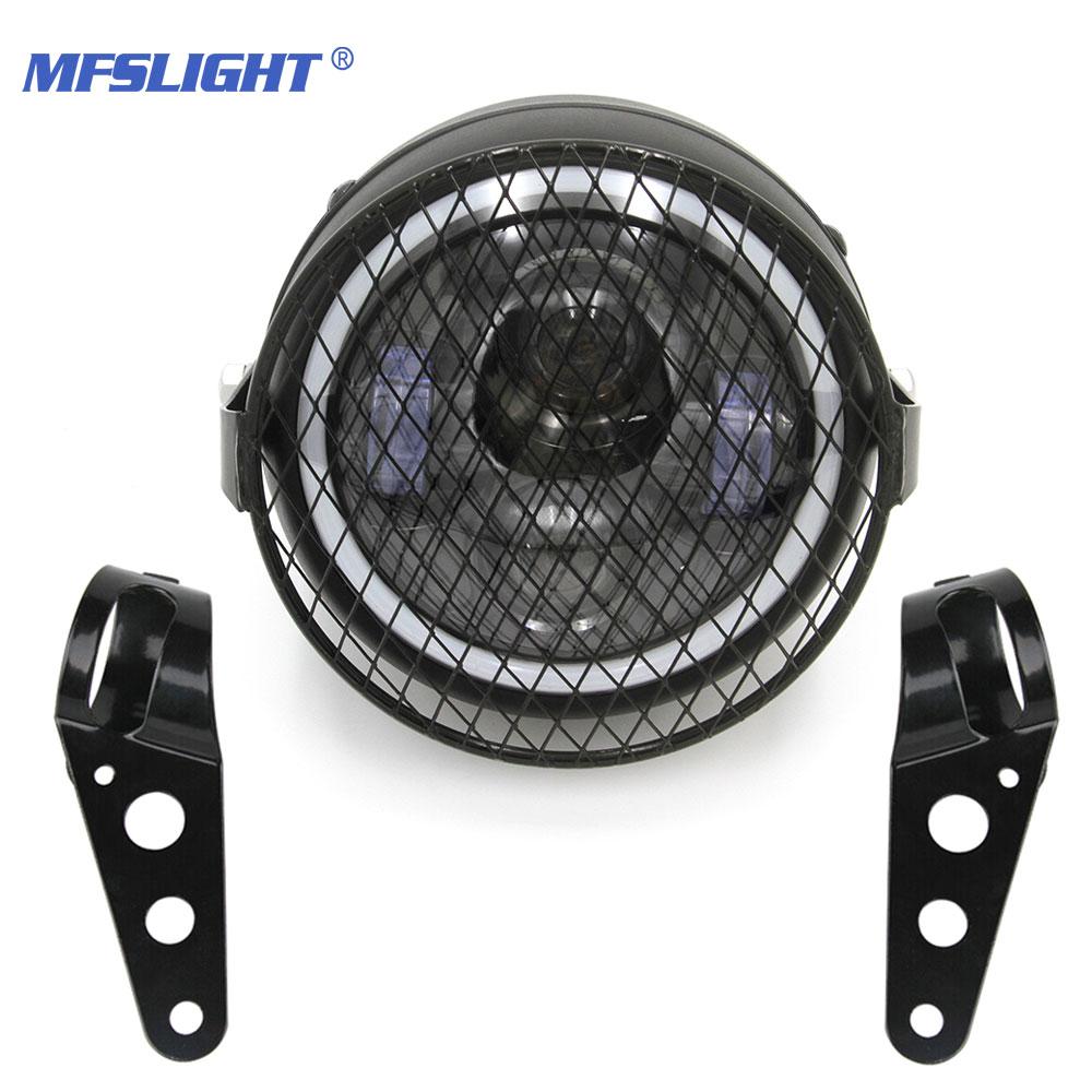6.5 LED Motorcycle Headlight Daytime Running Light Headlamp Bracket Grill Angel Ring Hi&Lo Beam For Cafe Racer Bobber Scramble