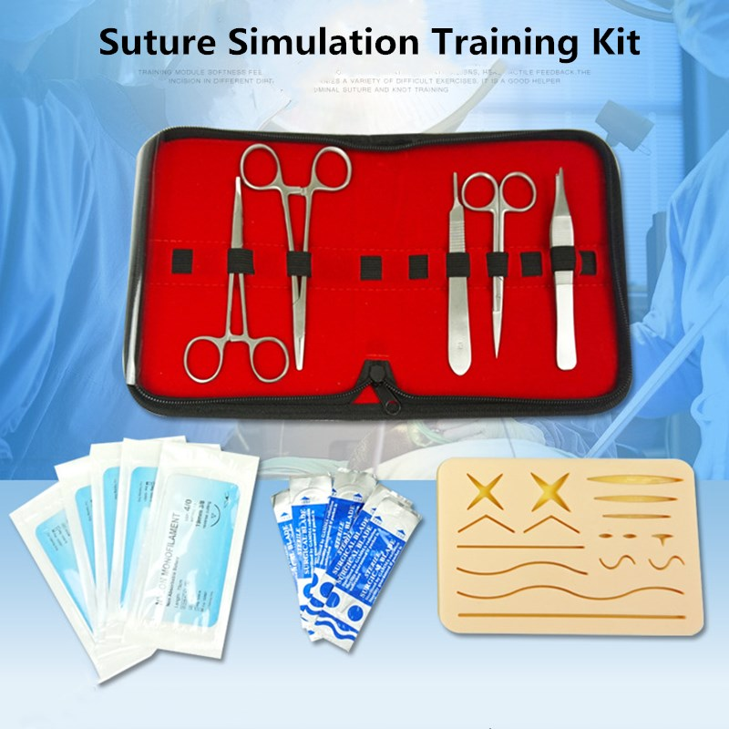 Surgical Suture Training Kit Skin Operate Suture Practice Model Training Pad Scissors Tool Kit Teaching Equipment