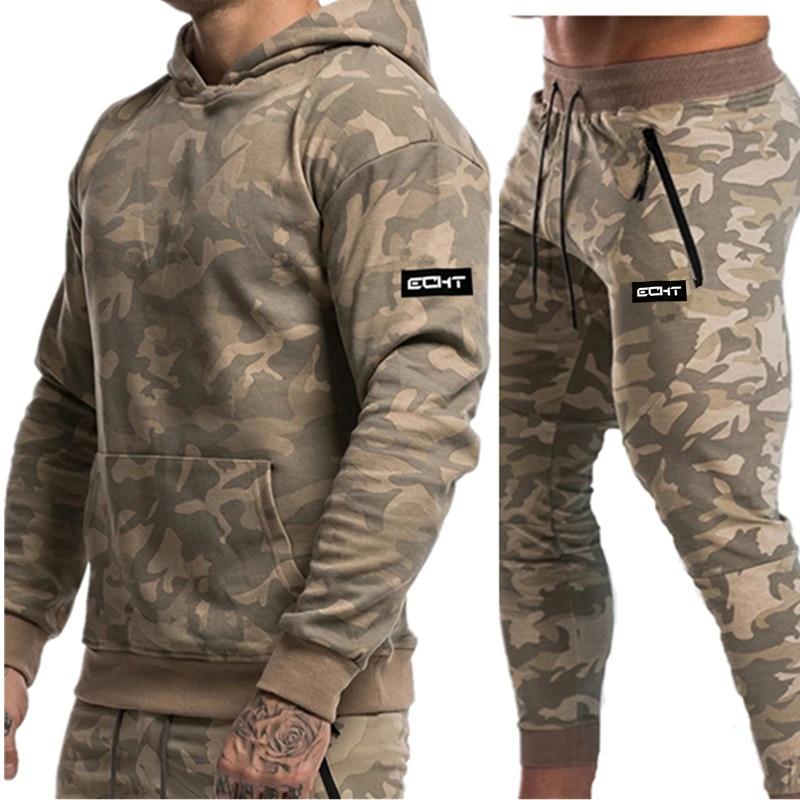 Autumn Winter New Men Running Set Sport Suits Hoodies Pants Sets Sweatshirt+ Sweatpants Male Sportswear Gyms Fitness Tracksuit