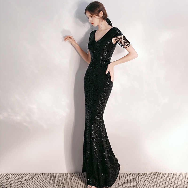 Sirene Robe Noire Longue Paillettes Perles Robes De Soiree K050 Manches Courtes Elegant Soiree Robes De Grande Taille Sexy Robe De Soiree Aliexpress