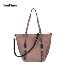 Famous YooFiner Brand pu Leather Rivet  Bag Crossbody Bags for Women 2019 Tote Shoulder Bag Luxury Handbags Women Bags Designer famous brand designer 2017 luxury women pu leather trapeze tote bag composite crossbody handbags high quality