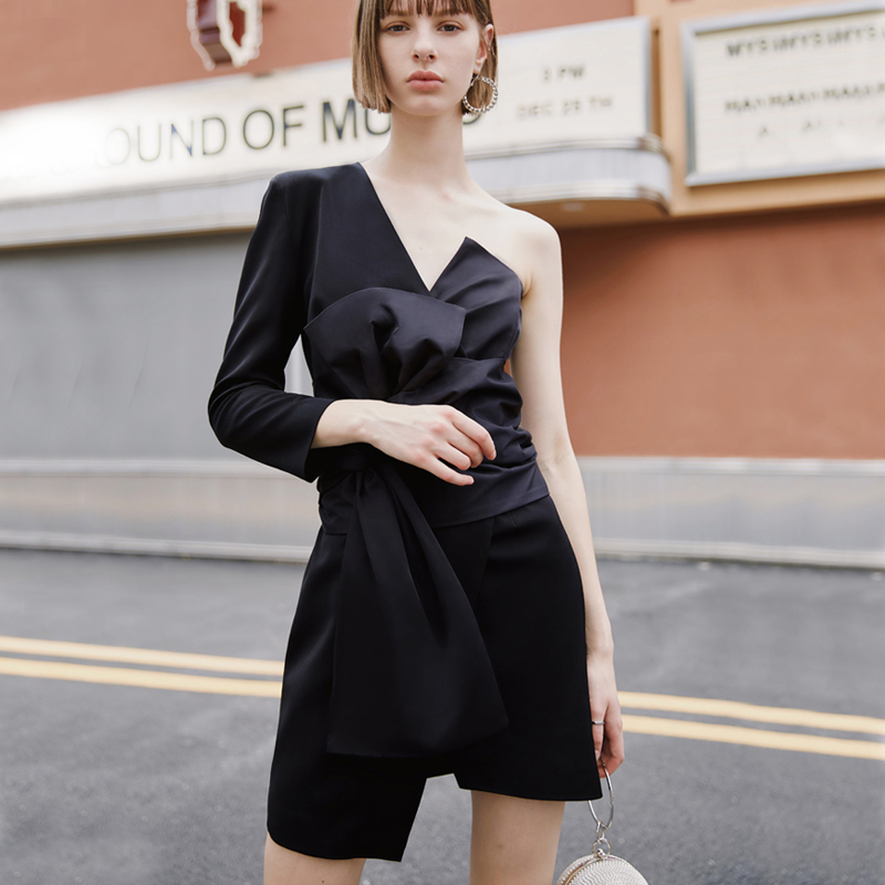 AEL Black Mini Dress Asymmetric Sexy Deep V Neck Summer Women Clothes 2018 Femme Casual Lo Clothing