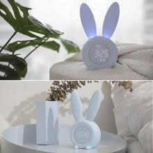 Cute Bunny Ear LED Digital Alarm Clock Elettronico USB di Controllo del Suono di Notte Del Coniglio Lampada Da Tavolo Orologio Della Decorazione Della Casa