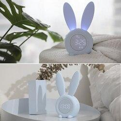Светодиодный Будильник с милыми заячьими ушками, электронный будильник с USB звуковым управлением, ночник с кроликом, настольные часы, украш...
