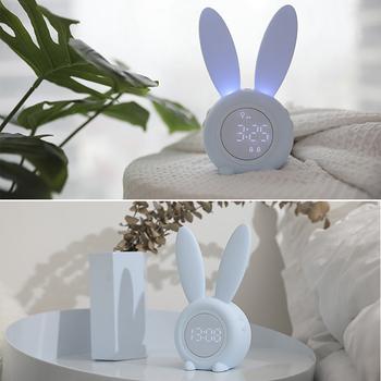 Cute Bunny Ear cyfrowy budzik LED zegar elektroniczny USB kontrola dźwięku królik noc lampka biurkowa zegar Home Decoration tanie i dobre opinie CN (pochodzenie) GEOMETRIC DIGITAL 0 4800g Budziki Luminova Z tworzywa sztucznego Nowoczesne Funkcja drzemki Pojedyncze twarzy