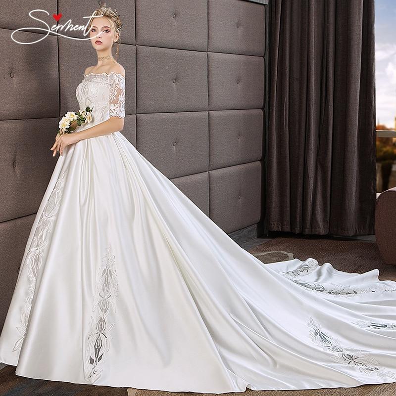 OLLYMURS Luxury New 2019 Elegant Satin Wedding Flower Pattern Lace Up Boat Neck Church Wedding Bride Pregnant Woman Size