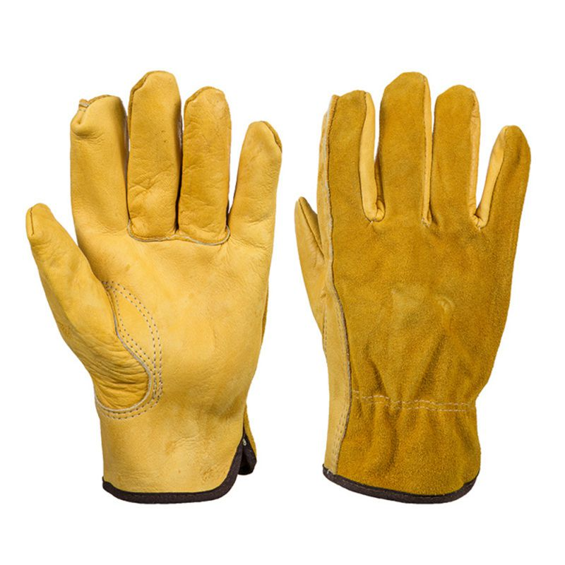 1 Pair Work Gloves Cowhide Security Protection Wear Welding Moto Hunting Gloves 6