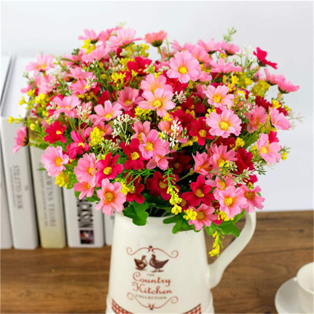Artificial Bunch Fake Silk Daisy Flower 1 Set 28 Heads Hydrangea Wedding Party Valentine 39 s Day Bouquet Bridal Home Decor Floral in Artificial amp Dried Flowers from Home amp Garden