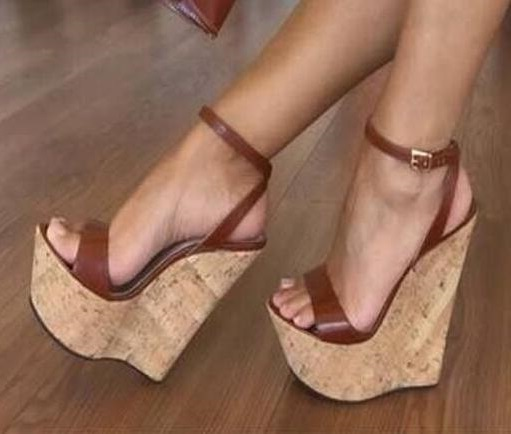Sexy sandales compensées pour femme grande taille 13 haute plate-forme été robe chaussures découpées bride à la cheville Super sandales hautes compensées noir marron