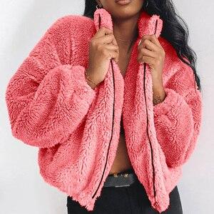 Winter Elegant Zipper Faux Fur Coat Women Long Sleeve Turn Down Collar Loose Fur Jackets Female Fur Overcoat Outwear Plus Size(China)
