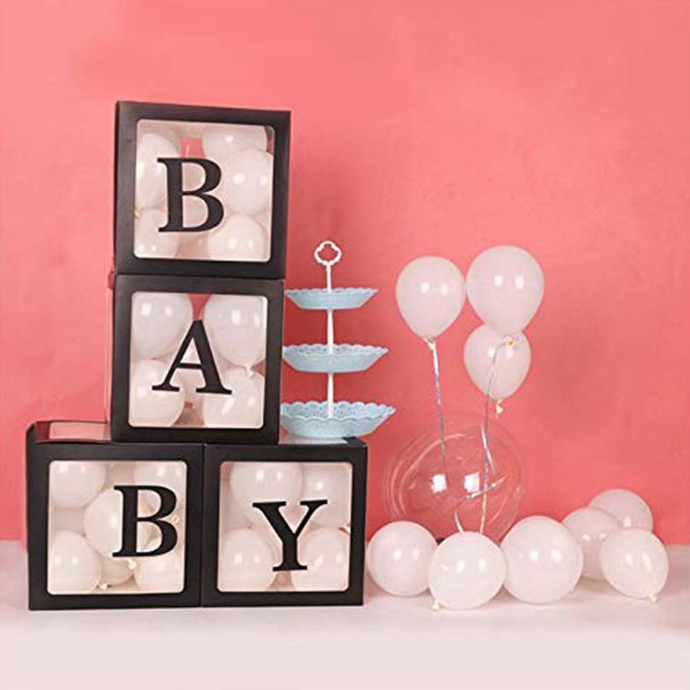 4Pcs Baby Love Transparent Box Storage Balloon Baby Shower Birthday Party Decorations Kids Baby Shower Boy Girl Gifts